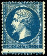N°22, 20 C. Bleu, Piquage à Cheval, TB
