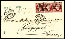 N°17Aj (Cérès), 80 C. Groseille, Bande Horizontale De 3 Oblitérée Losange K Sur LSC De P
