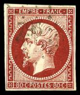 N°17Ae (Maury), 80 C. Vermillonné Foncé, Oblitéré PC796, TB (cote Maury)