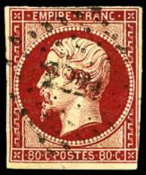 N°17Ad, 80 C. Vermillonné, Nuance Très Foncée, Oblitéré PC 2221, Au Filet Dans Un