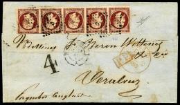 N°17A, 80 C. Carmin Foncé, Bande Horizontale De 5 (au Filet Sur 2 Timbres), Oblitérée Losange D