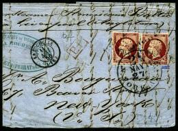 N°17A, 80 C. Carmin (x2), Oblitérés PC Sur Grande Partie De LAC Avec Càd De La Rochelle Du 11 M - 1853-1860 Napoleon III