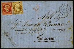 N°16, 40 C. Orange Et N°13B, Oblitérés PC Sur LSC Avec Càd Type 15 De Puteaux Du 5 Mai 1861