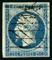 N°15a, 25 C. Bleu Laiteux, Oblitéré Grille Sans Fin, TB