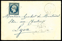 N°15, 25 C. Bleu, Oblitéré PC Sur Enveloppe Avec Càd Type 15 De Vif Du 11 Juin 1854, TB