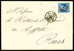 N°14B, 20 C. Bleu, Type II, Oblitéré Losange 1818 (caractères Gras) Sur LAC De Lyon Du 25 F&eac