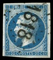 N°14B, 20 C. Bleu, Type II, Oblitéré Losange 1818 (caractères Gras) De Lyon, Superbe