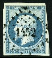 N°14 Ih (Maury), 20 C. Bleu Laiteux Sur Vert, Oblitéré PC 1452, TB (cote Maury)
