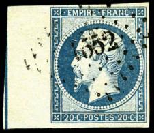 N°14Ai, 20 C. Bleu, Type I, Bord De Feuille Avec Ligne D'encadrement, Oblitéré 1552, Infimes Points Cl