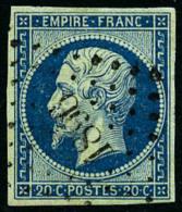 N°14Ad, 20 C. Bleu Sur Vert, Type I, Oblitéré PC 1896, Superbe