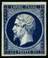 N°14Ab, 20 C. Bleu-noir, Type I, TB