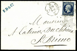 """N°14Aa, 20 C. Bleu Foncé, Type I, Oblitéré Roulette D'Etoile Sur LSC Avec Càd """"12 PARIS"""