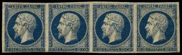 N°14Aa, 20 C. Bleu Foncé, Type I, Bande Horizontale De 4, Froissure Et Petites Tâches, Bel Aspect (cote
