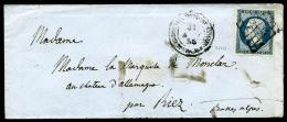 """N°14A, 20 C. Bleu, Type I, Oblitéré Grille Sur Enveloppe Avec Càd """"CORPS EXPEDITIONNAIRE D'ITAL"""