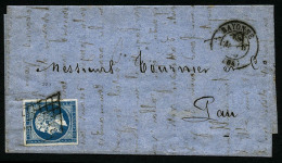 N°14A, 20 C. Bleu, Type I, Oblitéré De La Grille De Bayonne Sur LAC Avec Càd Type 15 Du 18 Mars