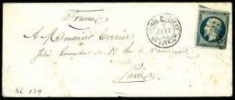 """N°14A, 20 C. Bleu, Type I, Oblitéré Losange AOQG Sur Enveloppe Avec Càd """"ARMEE D'ORIENT/QUARTIE"""