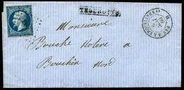 """N°14A, 20 C. Bleu, Type I, Oblitéré Sur LSC Avec La Griffe De Gare De Thourotte Et Càd """"PARIS A"""