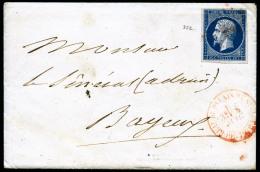 N°14A, 20 C. Bleu, Type I, Oblitéré Losange PSC En Rouge Sur Enveloppe Avec Correspondance Et C&agrave