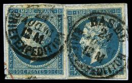 """N°14A, 20 C. Bleu, Type I, Deux Exemplaires Oblitérés Càd Suisse """"BASEL/BRIEFEXPEDITION"""" Du 24"""