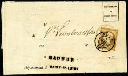 N°13B, 10 C. Brun Clair, Type II, Oblitéré Càd Type 15 De Saumur Du 4 Mars 1862 Sur Avis De Cha - 1853-1860 Napoleon III