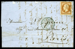 N°13Ab, 10 C. Bistre-orange, Type I, Un Angle Au Filet, Oblitéré Losange H En Bleu Sur LAC Avec C&agra