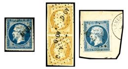 N°13A, 10 C. Bistre, Type I, Paire Verticale Oblitérée Losange AO.G Et N°14A, 20 C. Bleu, Type I,