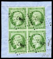 N°12a, 5 C. Vert-jaune, Bloc De 4 Oblitéré PC 2847 Sur Petit Fragment, Touché, B