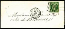 N°12, 5 C. Vert, Oblitéré Losange A Sur Imprimé Avec Càd Du 24 Décembre 1858, TB