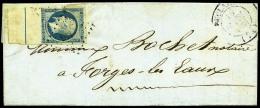 N°10b, 25 C. Bleu Avec Ligne D'encadrement, Oblitéré PC Sur LAC Avec Càd Type 14 De Duclair, TB - 1852 Louis-Napoleon