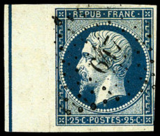 N°10b, 25 C. Bleu, Bord De Feuille Avec Ligne D'encadrement, Oblitéré PC 617, Aminci, Bel Aspect - 1852 Louis-Napoleon