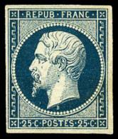 N°10, 25 C. Bleu, TB (cote Sans Gomme) - 1852 Louis-Napoleon