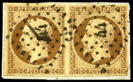 N°9a, 10 C. Bistre-brun, Paire Horizontale, Oblitérée PC 44 Sur Petit Fragment, TB - 1852 Louis-Napoleon