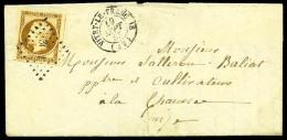 N°9, 10 C. Bistre-jaune, Oblitéré PC Sur LAC Avec Càd Type 15 De Vitry-Le-François Du 19 - 1852 Louis-Napoleon