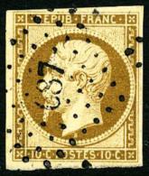 N°9, 10 C. Bistre-jaune, Oblitéré PC 687, Légère Rousseur Au Verso Sinon TB - 1852 Louis-Napoleon