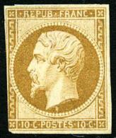 N°9, 10 C. Bistre-jaune, Entamé Sur Un Côté Sinon TB (cote Sans Gomme) - 1852 Louis-Napoleon