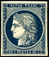 N°8a, 20 C. Bleu Foncé, Non-émis, TB - 1849-1850 Ceres
