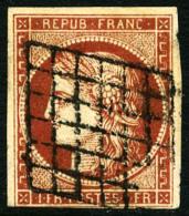 N°7c (Maury), 1 F Vermillon Foncé, Oblitéré Grille, Léger Pli Sinon TB (cote Maury) - 1849-1850 Ceres