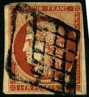 N°7c (Maury), 1 F. Vermillon Foncé, Oblitéré Grille, Aminci Sinon TB (cote Maury) - 1849-1850 Ceres