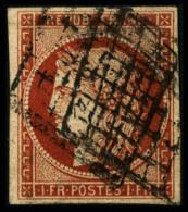 N°7, 1 F. Vermillon, Belle Nuance, Oblitéré Grille, Aminci Sinon TB - 1849-1850 Ceres