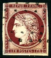 N°6b, 1 F. Carmin Foncé, Oblitéré Rouleau De Points, Aminci, Bel Aspect - 1849-1850 Ceres