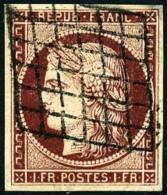 N°6b, 1 F. Carmin Foncé, Oblitéré Grille, TB - 1849-1850 Ceres