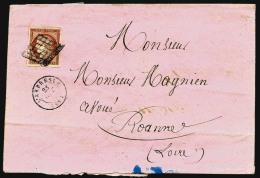 N°6B, 1 F. Carmin-brun, Oblitéré Grille Sur Enveloppe Réutilisée Avec Càd Type 15 - 1849-1850 Ceres