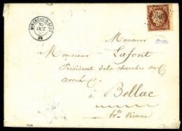 N°6B, 1 F. Carmin-brun, Bord De Feuille, Oblitéré PC Sur Enveloppe Avec Càd Type 15 De Mirebeau - 1849-1850 Ceres