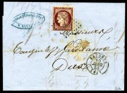 N°6, 1 F. Carmin (petite Marge En Bas), Oblitéré Grille Sur LAC Avec Càd Type 15 De Bayonne Du - 1849-1850 Ceres