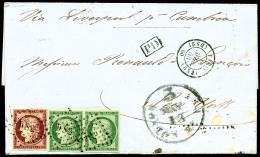 N°6 Et N°2 (paire Horizontale), Oblitérés Losange DS2 Sur LAC Avec Càd De Paris Du 18 Avril - 1849-1850 Ceres