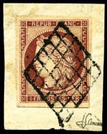 N°6, 1 F. Carmin Foncé, Oblitéré Grille Sur Petit Fragment, TB - 1849-1850 Ceres