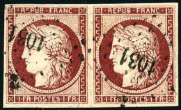 N°6, 1 F. Carmin, Paire Horizontale Oblitérée PC 1031, TB - 1849-1850 Ceres