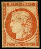 """N°5h, 40 C. Orange, Réimpression De 1862, Variété """"4 Large"""", Entamé à Droite, B ( - 1849-1850 Ceres"""