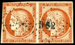"""N°5e, 40 C. Orange, Variété """"4 Retouché"""" Tenant à Normal, Oblitéré Losange - 1849-1850 Ceres"""