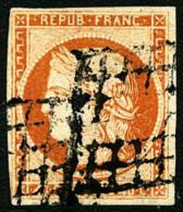 """N°5d, 40 C. Orange, """"4 Retouché"""", Oblitéré Grille, Léger Pelurage Sinon TB - 1849-1850 Ceres"""